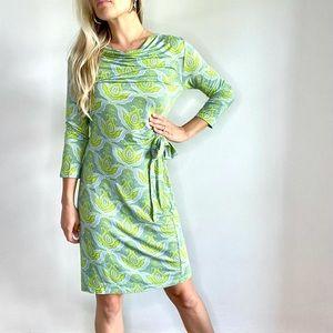 Malabar Bay Green & Blue Long Sleeve Slinky Dress